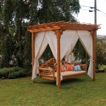 Imagine relaxing on this cedar wood swing bed and pergola.