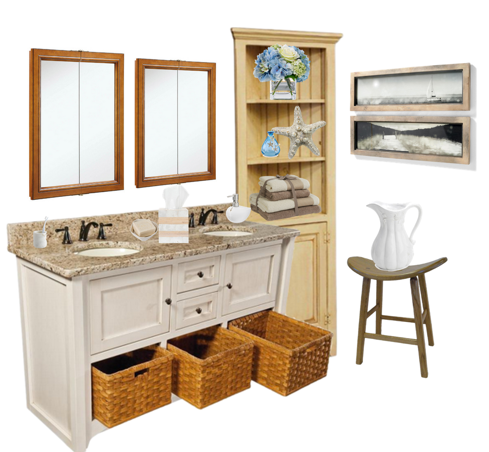 Cottage Bathroom with Corner Hutch