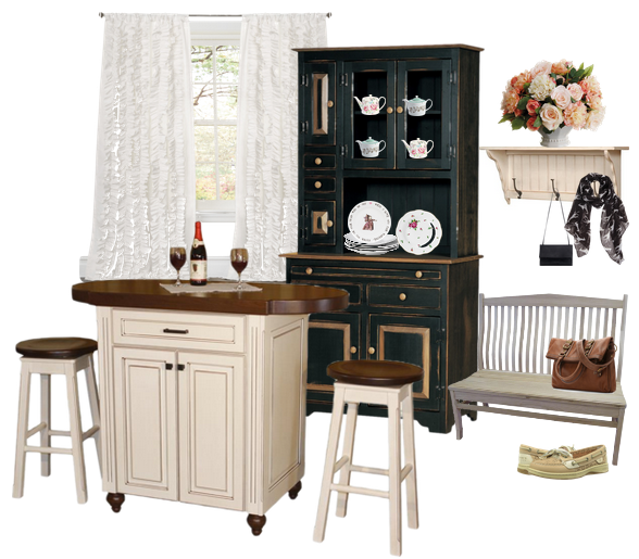 Homey Kitchen with Pub Table and Black Hutch