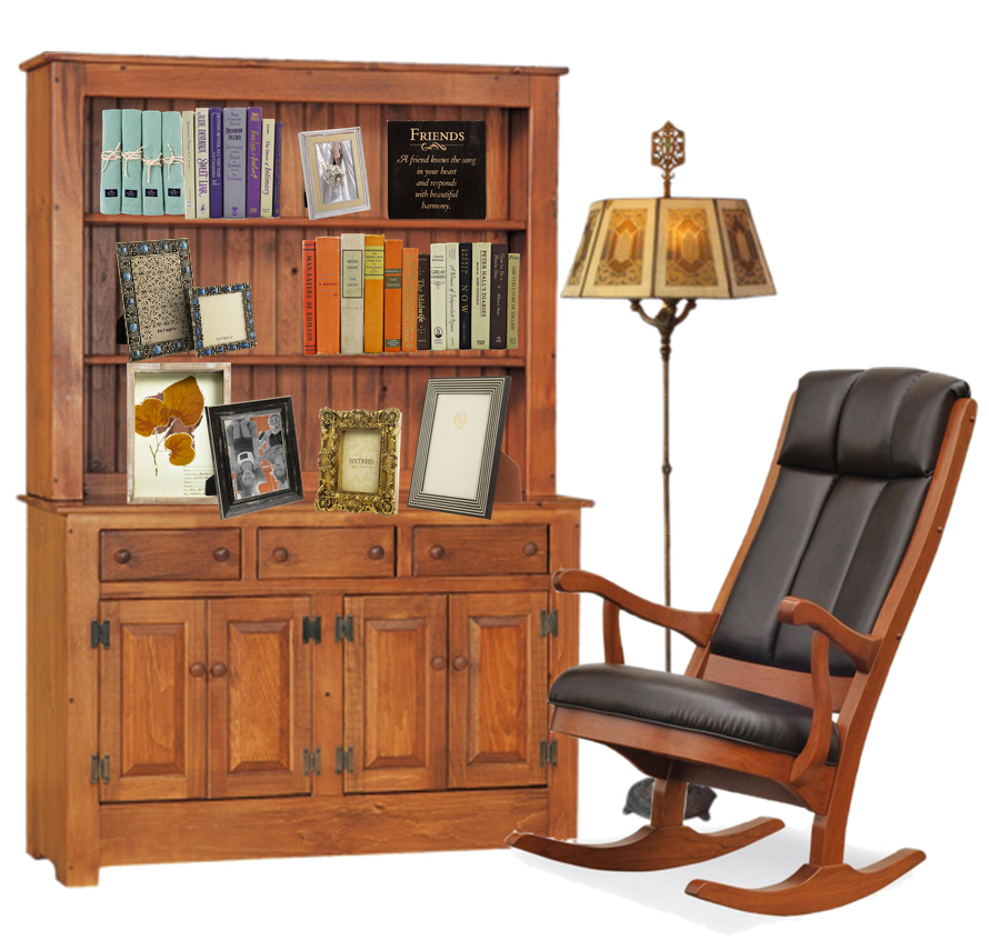 Reading Corner with Bookcase Hutch & Rocker