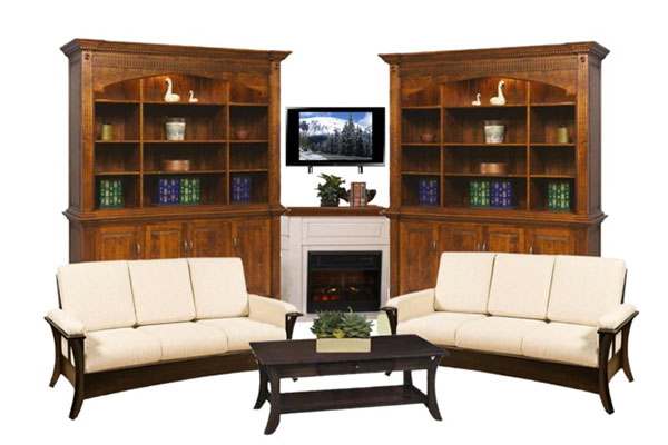 Create a cozy nook with a corner fireplace with bookcases on either side.