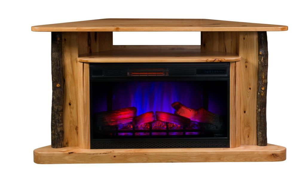 Amish Classic Corner TV Stand LED Electric Fireplace