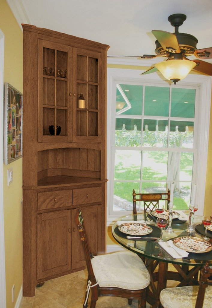 5 Ways To Organize A Corner Hutch, Corner Cabinet Dining Room Hutch
