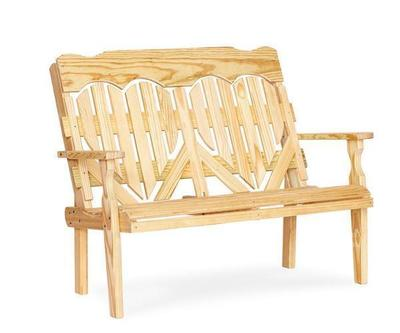 Amish Wood High Back Heart Park Bench