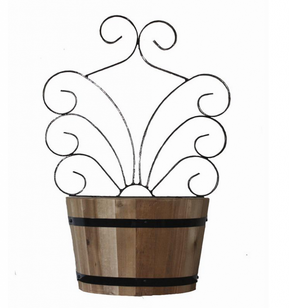 Vintage Oak Half Barrel Planter with Trellis