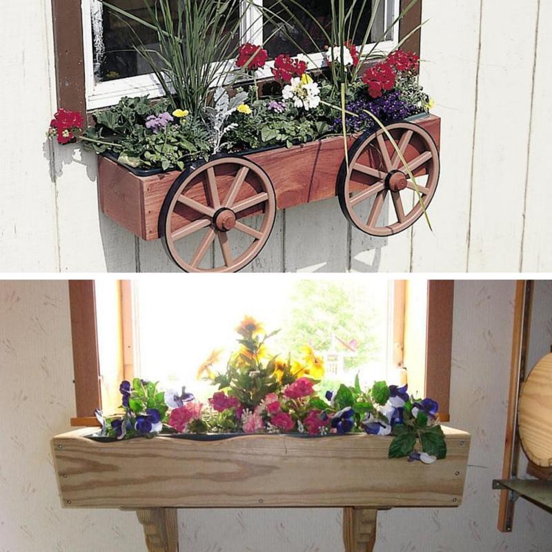 Amish Wagon Wheel Rustic Window Box Planter and Amish Pine Country Window Box Planter