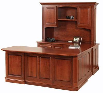 Amish Buckingham U Shaped Desk with Optional Hutch Top