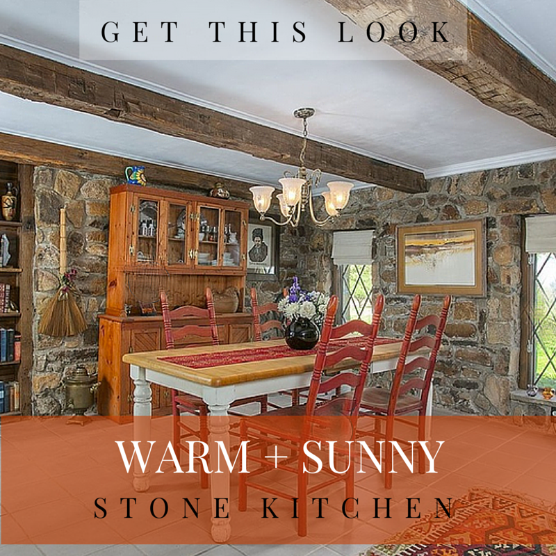 get this look: light + sunny stone eat-in kitchen