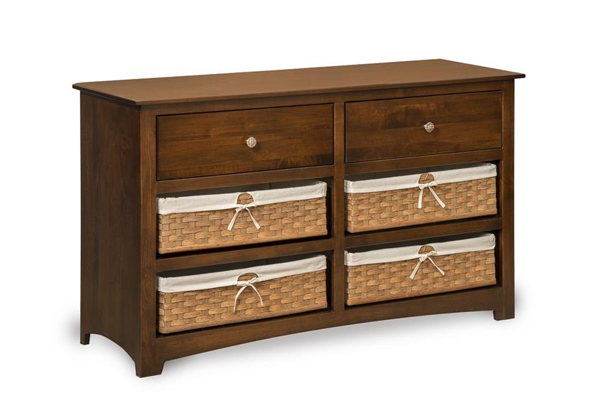 Amish Monterey Six Drawer Dresser with Optional Baskets