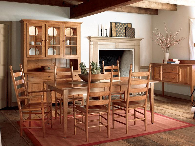 Amish Shaker Autumn Solid Top Dining Room Table - Keystone Collection