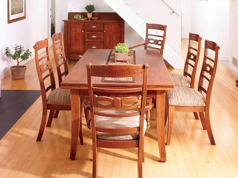 Amish Somerset Stowleaf Draw Extension Dining Room Table