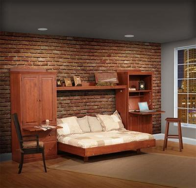 Amish Horizontal Wall Bed Set with Side Storage Units