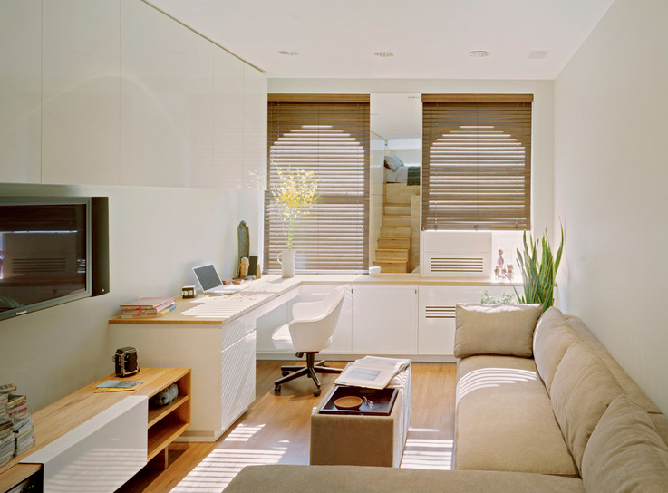 Natural and white elements support the idea of space