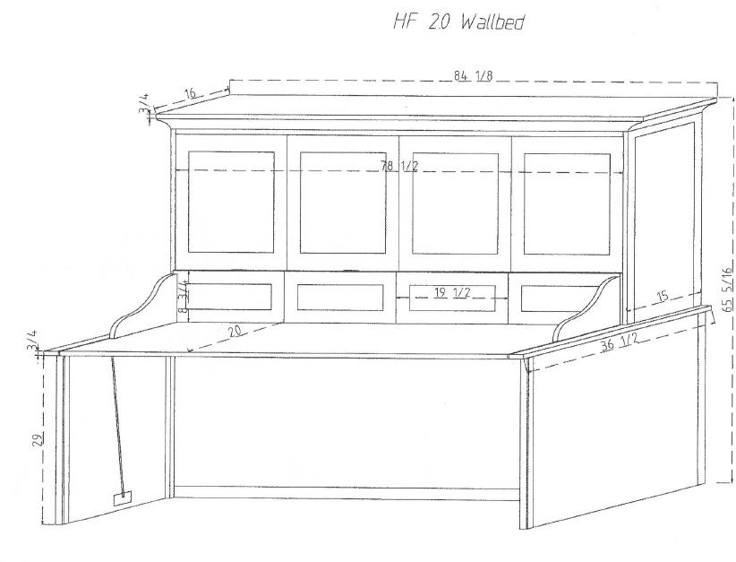 Horizontal Murphy Wall Bed and Desk
