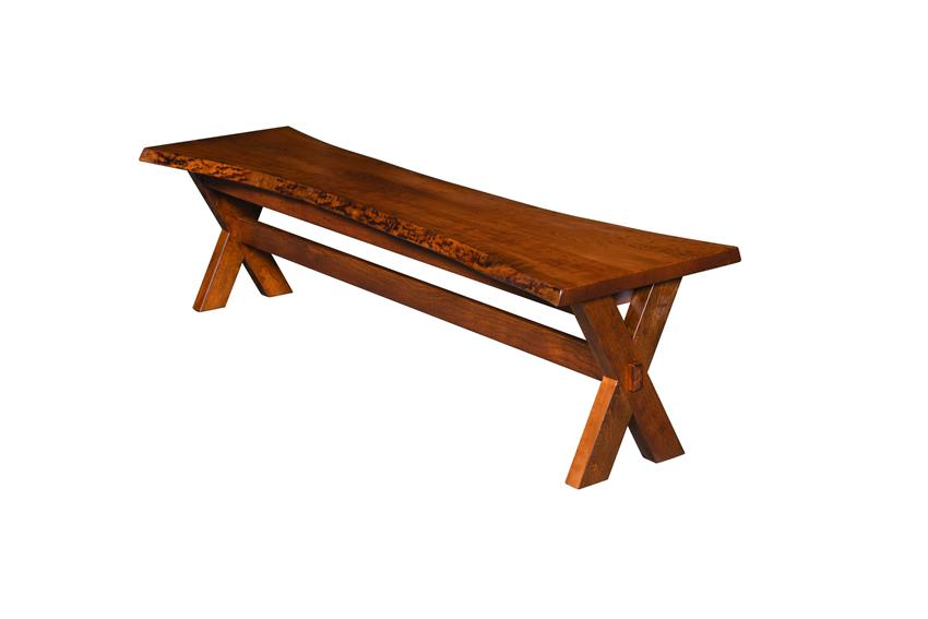 Amish Frontier Bench with Live Edge