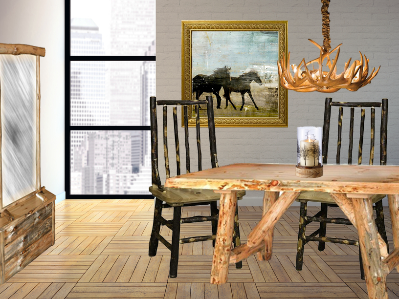 Rustic Pine Log Furniture in This City Dining Room