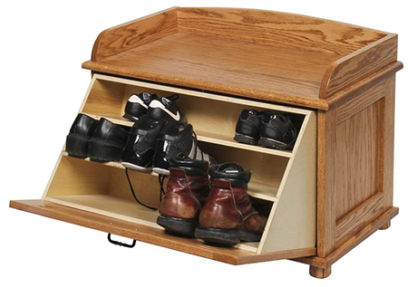 Amish Oak Wood Chest with Shoe Storage