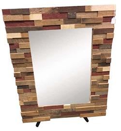 Amish Walnut Wood Block Art Mirror