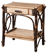 Amish Blue Mountain Hickory Solid Top Slatted Shelf End Table with Dovetailed Drawer
