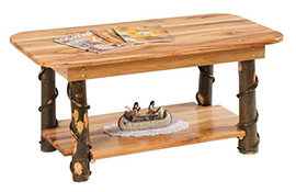 Amish Rustic Cabin Hickory Coffee Table with Shelf