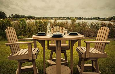 Amish Poly Wood Patio Pub Table Set