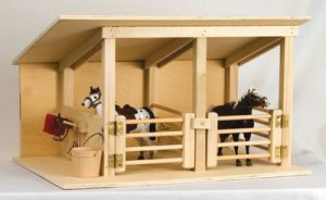 Amish Wood Toy Horse Stable