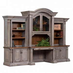 Amish Paris Credenza Desk with Optional Three-Piece Hutch Top