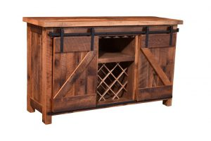 Sliding Barn Door Wine Cabinet