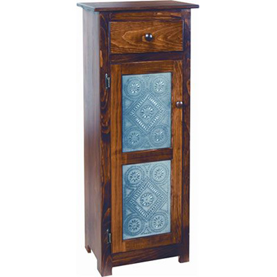 Amish Deluxe Pine Jelly Cabinet with Tin Doors