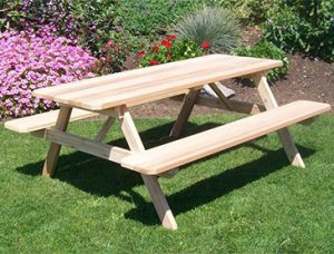 Amish Cedar Wood Table with Attached Benches