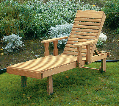 Amish Pine Wood Chaise Lounge with Adjustable Back