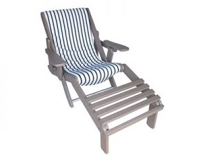 Folding Poly Adirondack Sling Chair with Built In Footrest