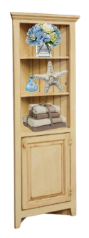 Amish Pine Corner Cabinet Hutch