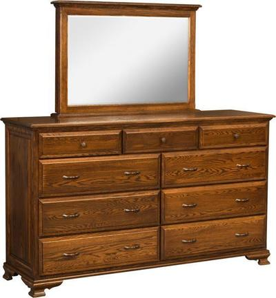 Amish Americana 9-Drawer Dresser with Optional Mirror