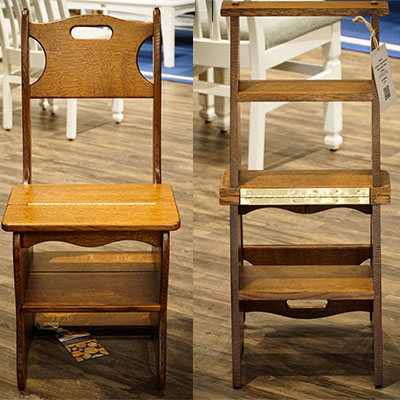 Amish Library Chair and Step Stool Combo