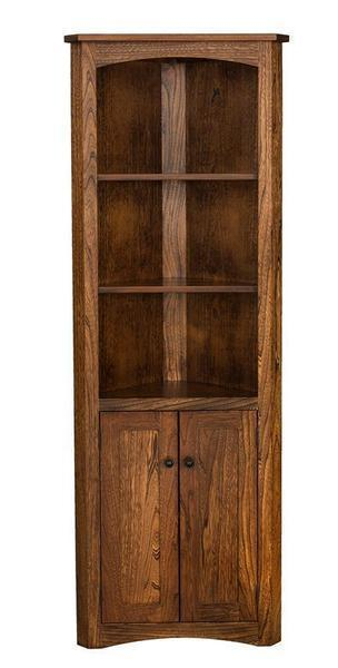Amish Mission Corner Bookcase with Optional Doors