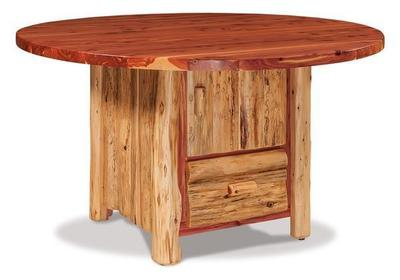 "Amish Red Cedar 54"" Round Dining Table with Cabinet"