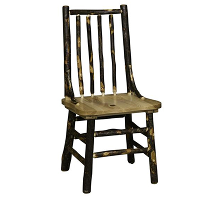 Amish Rustic Hickory Spindle Back Side Chair