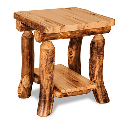 Amish Rustic Aspen End Table with Shelf