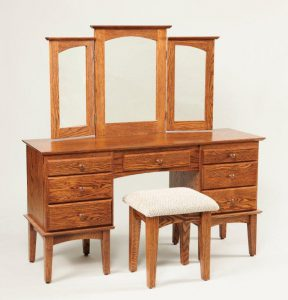 """Amish 56"""" Shaker Vanity Table with Trifold Mirror"""