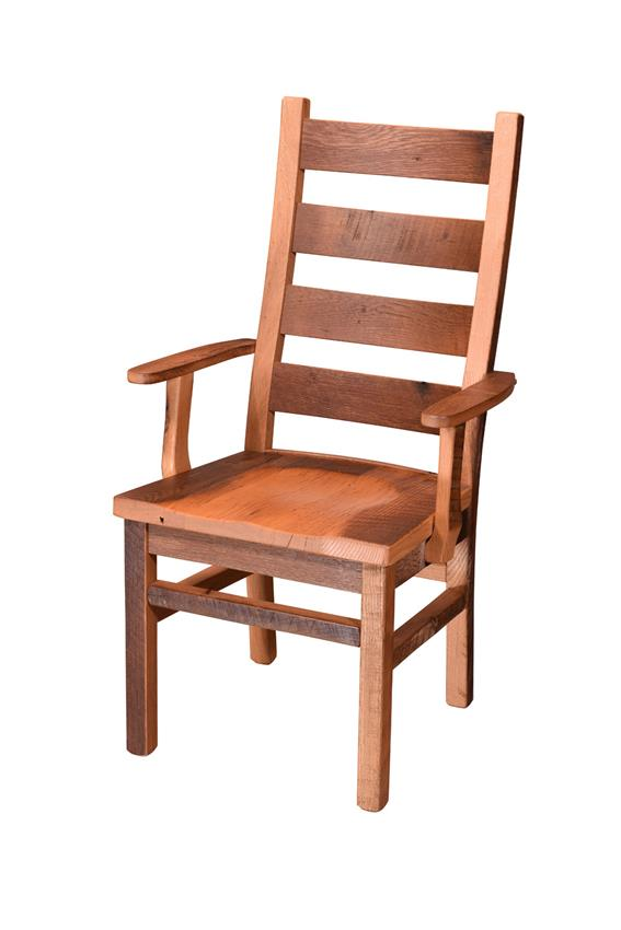 amish reclaimed wood ladderback chair with arms