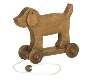 American Made Wooden Pull Toy Dog