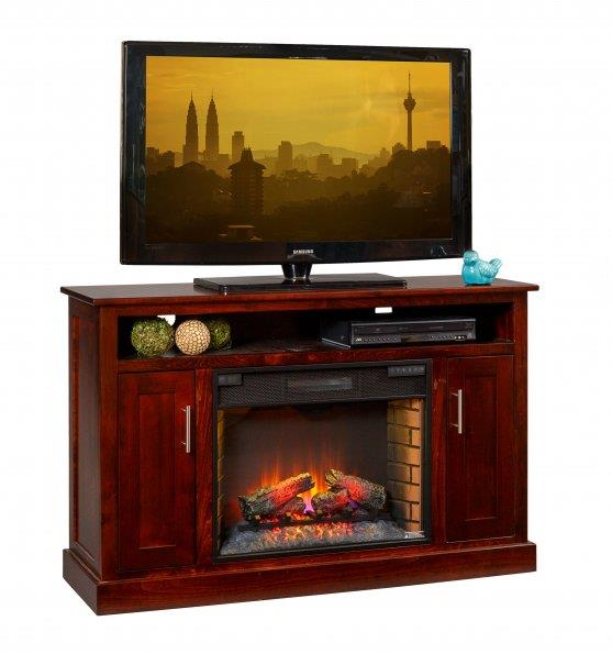Amish Elm Park Electric Fireplace TV Stand
