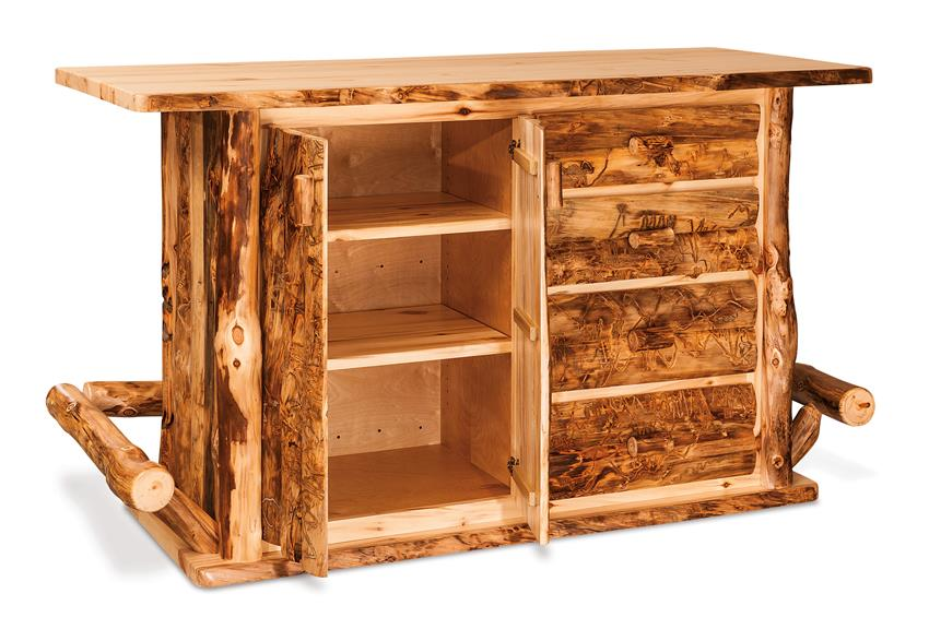 Amish Rustic Wood Bar