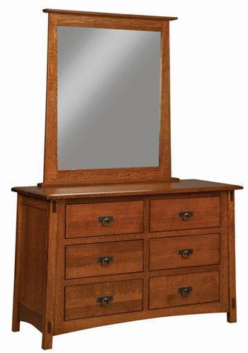 Amish San Marino Six Drawer Dresser with Mirror