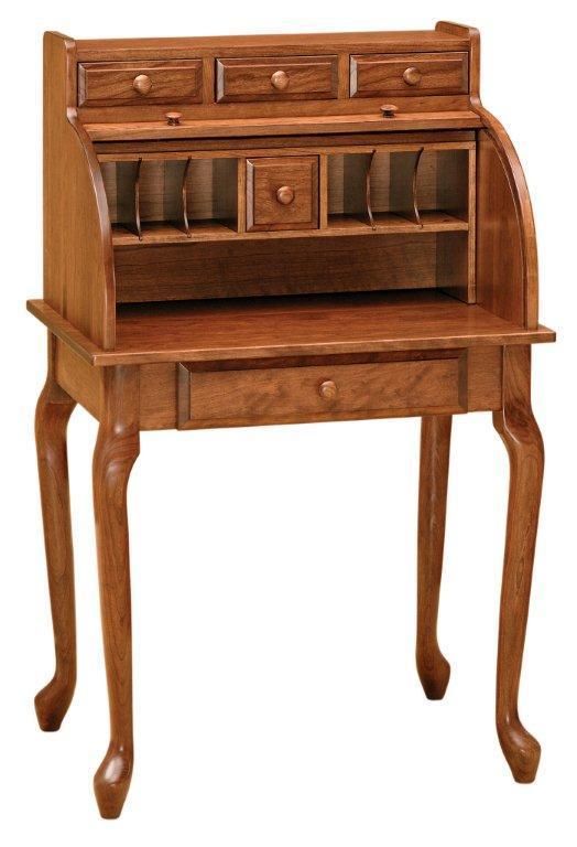 Amish Queen Anne Secretary Roll Top Desk