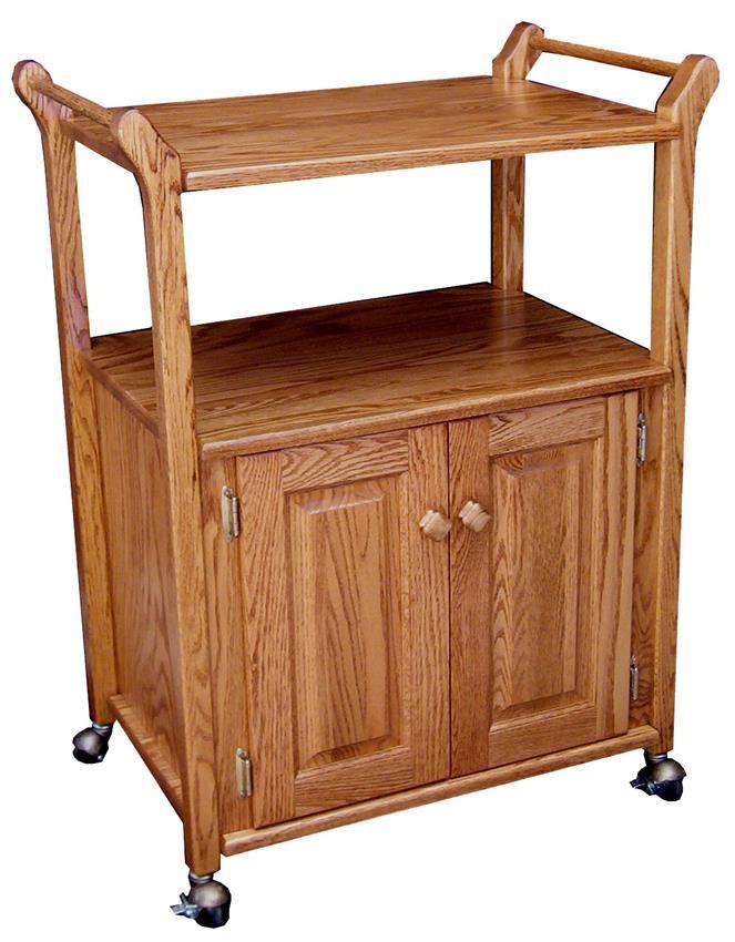 Amish Hardwood Utility Cart with Adjustable Shelf