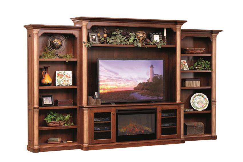 Amish Jefferson Premier Entertainment Center with Electric Fireplace