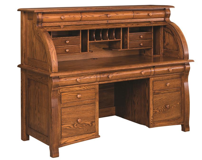 """Amish 65"""" Castlebury Rolltop Desk"""