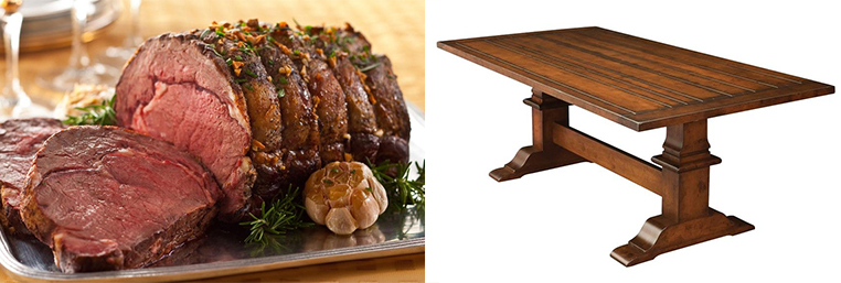 primerib and Chesterton Plank Top Trestle Dining Table